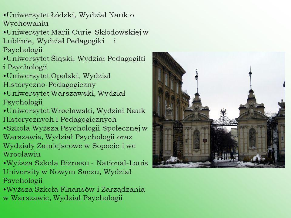 Uniwersytet Łódzki, Wydział Nauk o Wychowaniu Uniwersytet Marii Curie-Skłodowskiej w Lublinie, Wydział Pedagogiki i Psychologii Uniwersytet Śląski, Wy