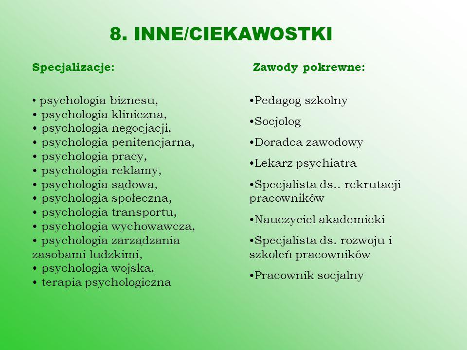8. INNE/CIEKAWOSTKI Specjalizacje: psychologia biznesu, psychologia kliniczna, psychologia negocjacji, psychologia penitencjarna, psychologia pracy, p