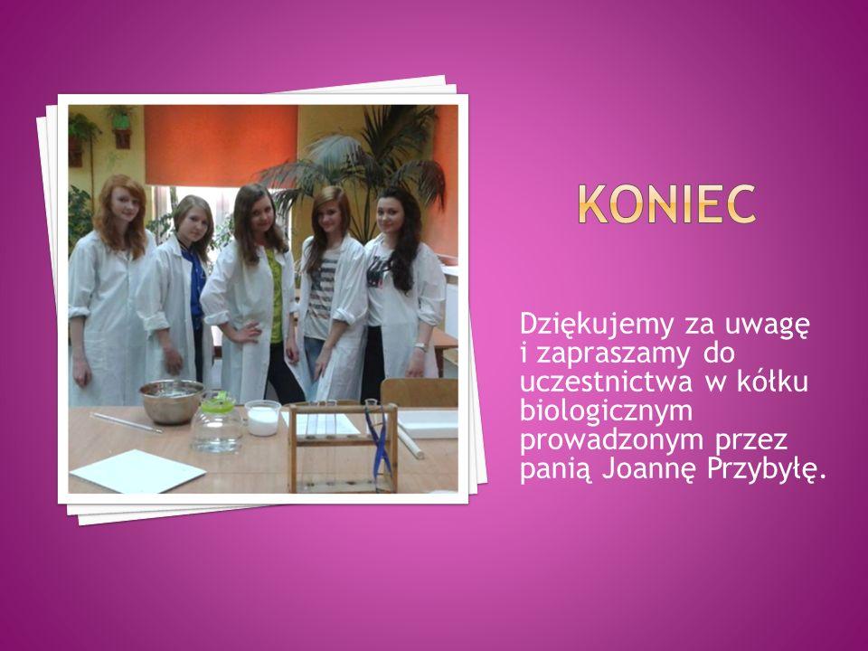 Dziękujemy za uwagę i zapraszamy do uczestnictwa w kółku biologicznym prowadzonym przez panią Joannę Przybyłę.