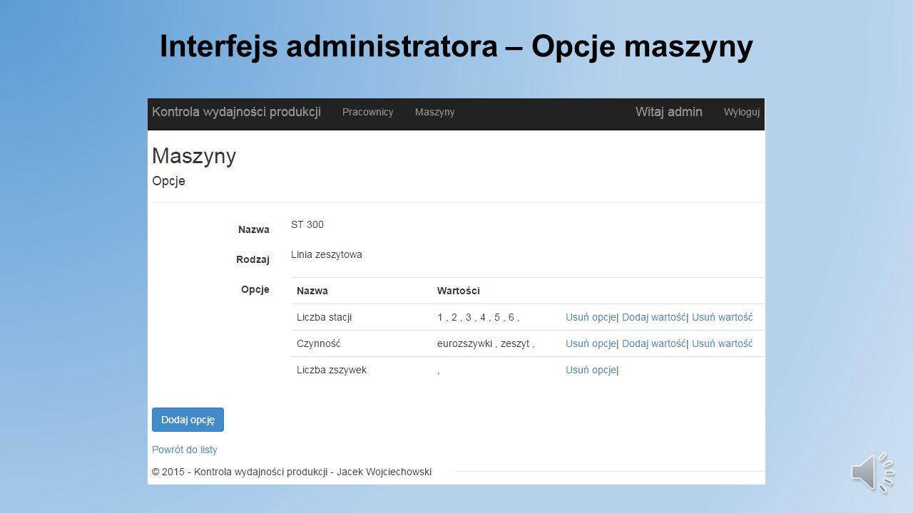 Interfejs administratora - Maszyny