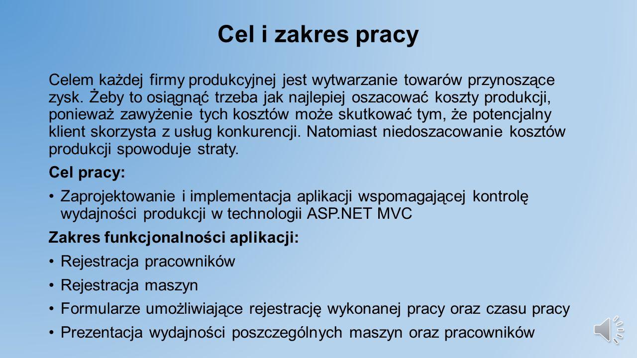 Politechnika Warszawska Wydział Elektryczny Kierunek: Informatyka stosowana Praca dyplomowa inżynierska Aplikacja do kontroli wydajności produkcji w technologii ASP.NET MVC Promotor: Dr inż.