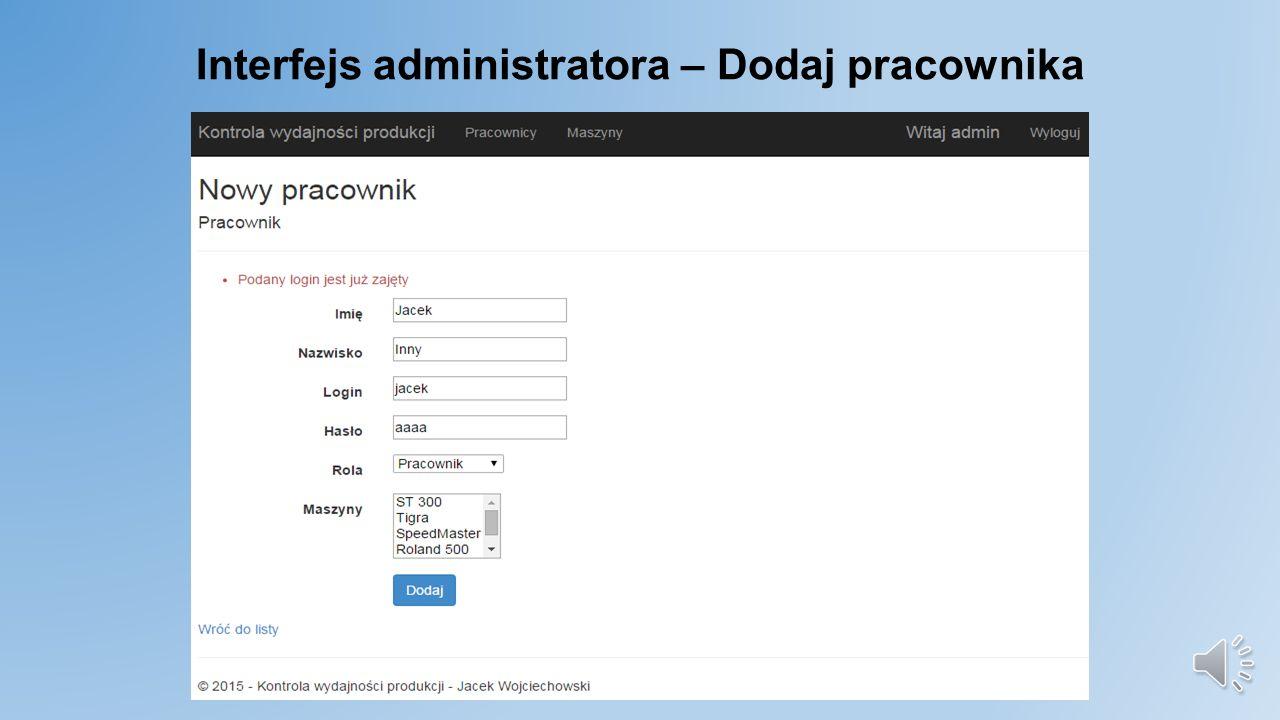 Interfejs administratora - Pracownicy