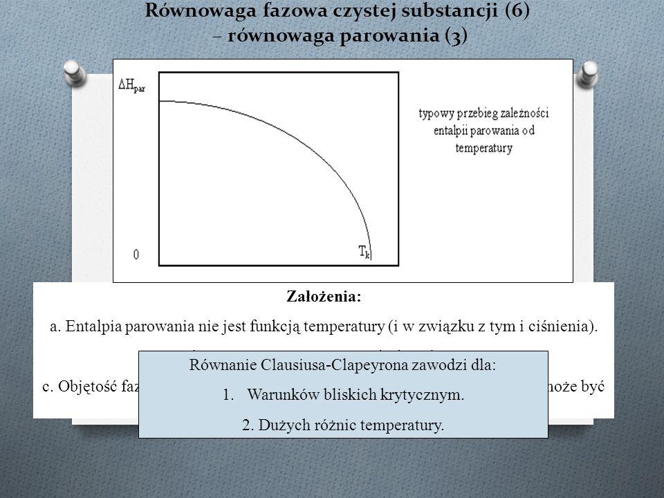 Równowaga fazowa czystej substancji (6) – równowaga parowania (3) równanie Clausiusa-Clapeyrona Założenia: a.