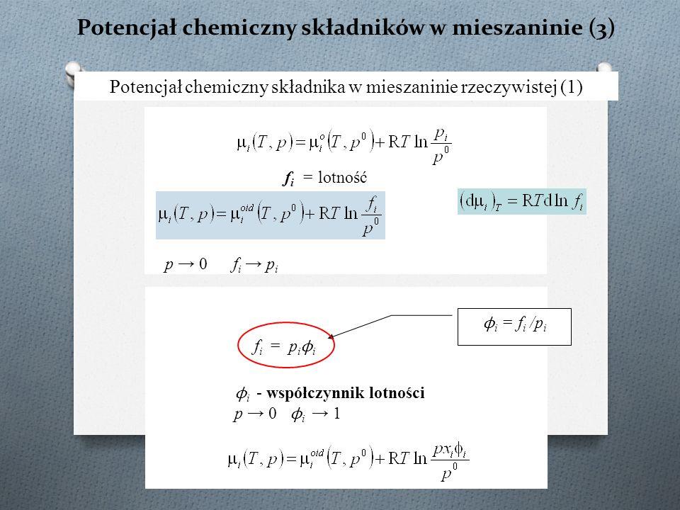Potencjał chemiczny składników w mieszaninie (3) Potencjał chemiczny składnika w mieszaninie rzeczywistej (1) ϕ i = f i /p i f i = lotność p → 0 f i → p i f i = p i ϕ i ϕ i - współczynnik lotności p → 0 ϕ i → 1