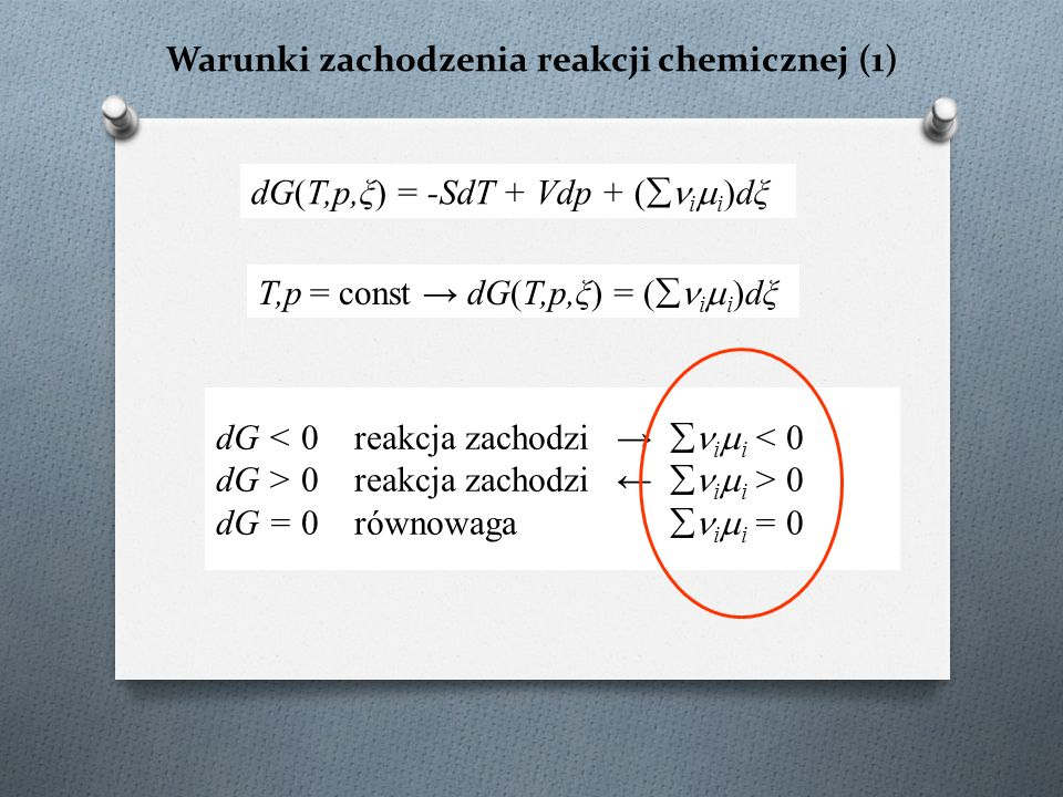 Warunki zachodzenia reakcji chemicznej (1) dG < 0 reakcja zachodzi →  i  i < 0 dG > 0 reakcja zachodzi ←  i  i > 0 dG = 0 równowaga  i  i = 0 dG(T,p,ξ) = -SdT + Vdp + (  i  i )dξ T,p = const → dG(T,p,ξ) = (  i  i )dξ