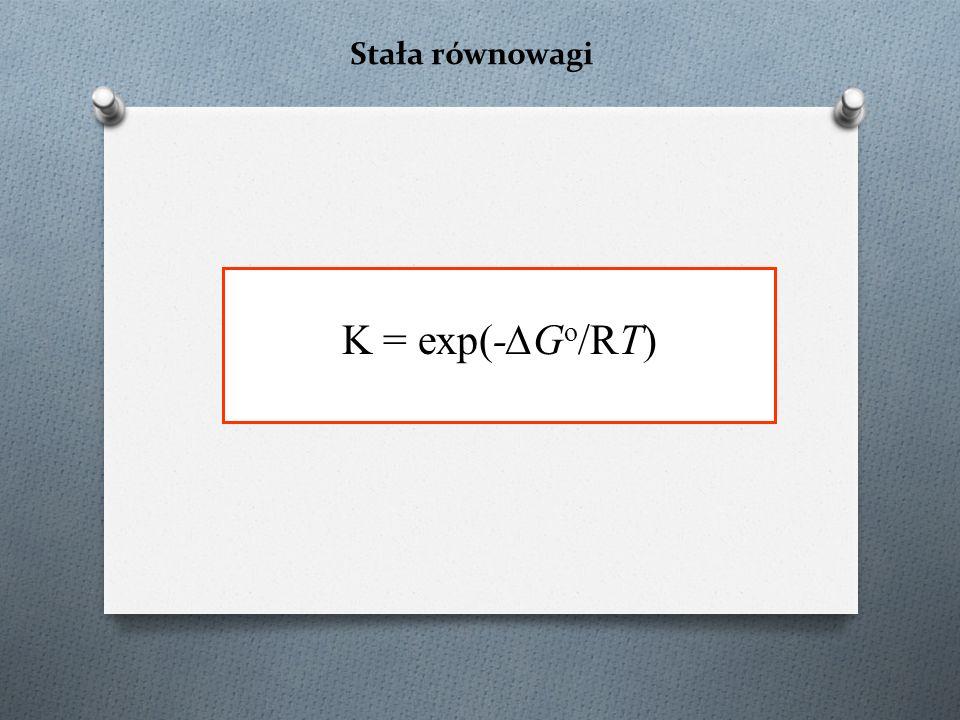 Stała równowagi K = exp(-∆G o /RT)