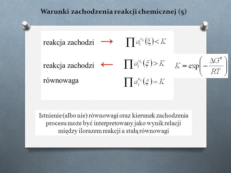 Warunki zachodzenia reakcji chemicznej (5) reakcja zachodzi → reakcja zachodzi ← równowaga Istnienie (albo nie) równowagi oraz kierunek zachodzenia procesu może być interpretowany jako wynik relacji między ilorazem reakcji a stałą równowagi