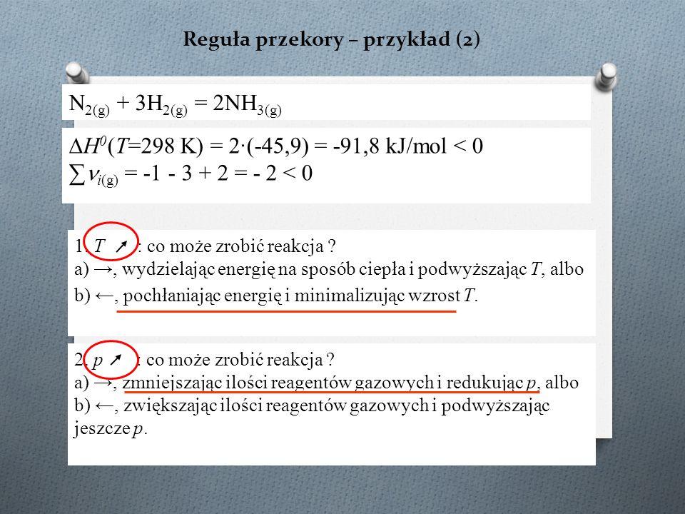 Reguła przekory – przykład (2) N 2(g) + 3H 2(g) = 2NH 3(g) ∆H 0 (T=298 K) = 2·(-45,9) = -91,8 kJ/mol < 0 ∑ i(g) = -1 - 3 + 2 = - 2 < 0 1.