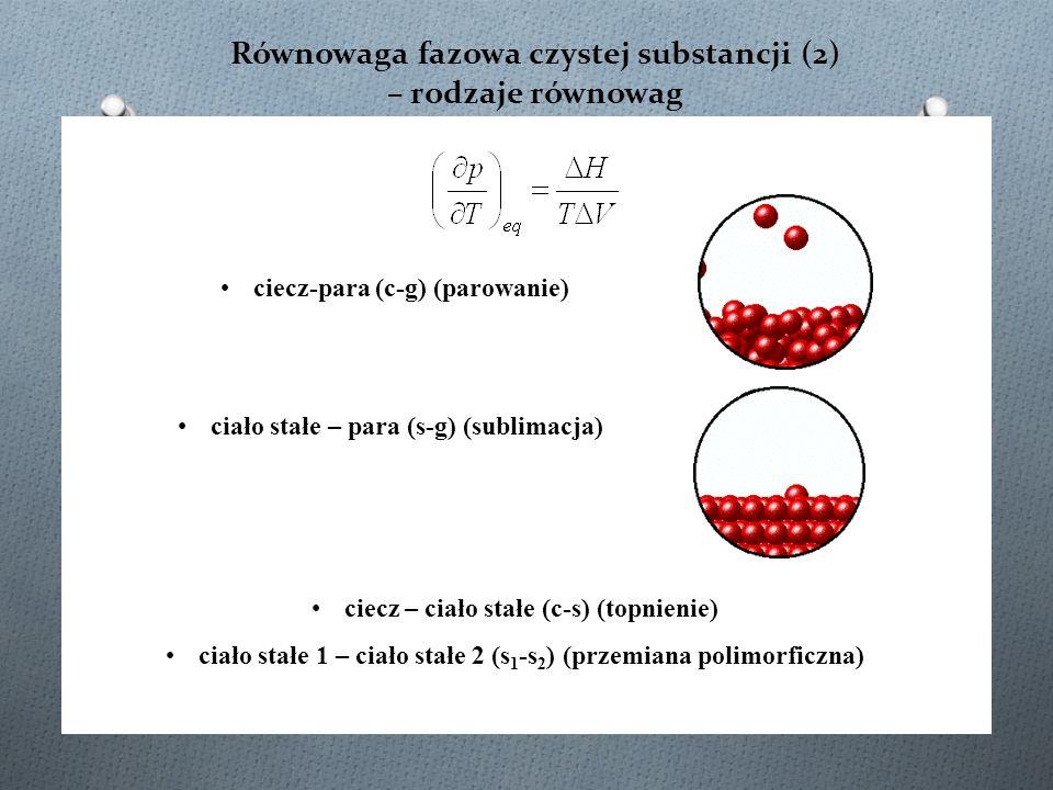 Równowaga fazowa czystej substancji (2) – rodzaje równowag ciecz – ciało stałe (c-s) (topnienie) ciało stałe 1 – ciało stałe 2 (s 1 -s 2 ) (przemiana polimorficzna) ciecz-para (c-g) (parowanie) ciało stałe – para (s-g) (sublimacja)