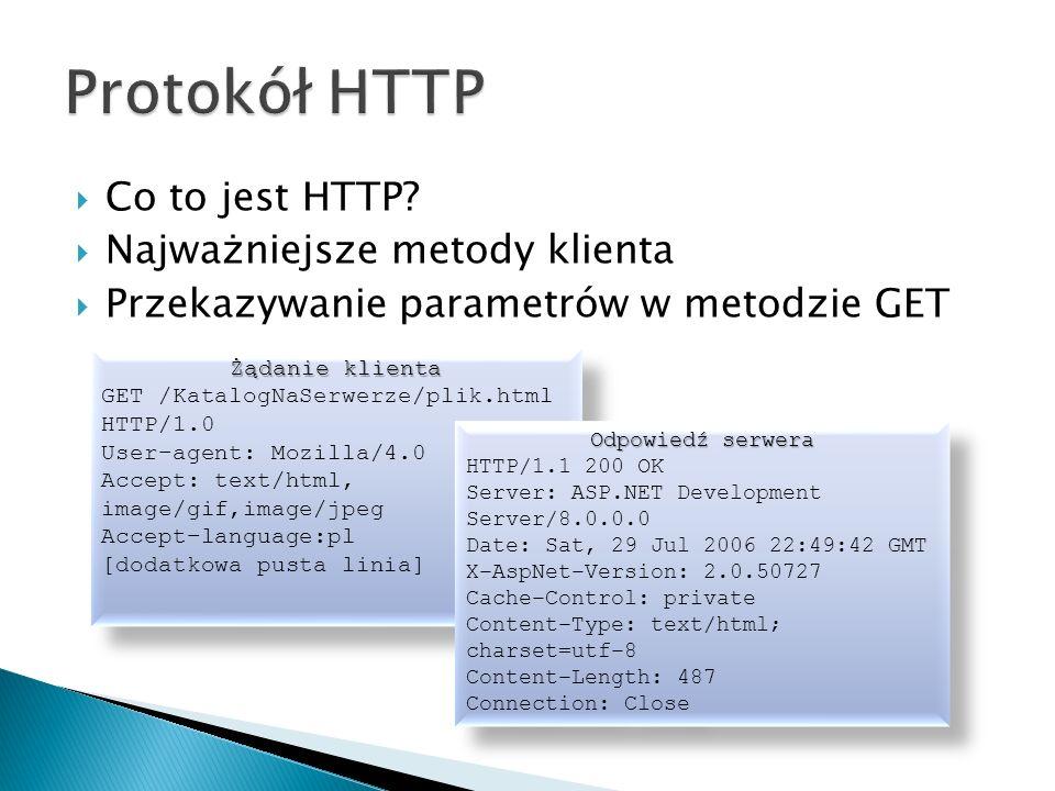  Co to jest HTTP?  Najważniejsze metody klienta  Przekazywanie parametrów w metodzie GET Żądanie klienta GET /KatalogNaSerwerze/plik.html HTTP/1.0