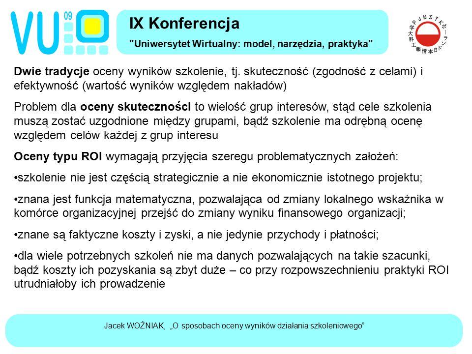 """Jacek WOŹNIAK, """"O sposobach oceny wyników działania szkoleniowego"""" Dwie tradycje oceny wyników szkolenie, tj. skuteczność (zgodność z celami) i efekty"""