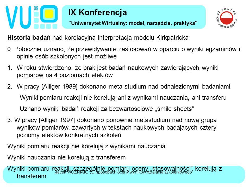 """Jacek WOŹNIAK, """"O sposobach oceny wyników działania szkoleniowego"""" Historia badań nad korelacyjną interpretacją modelu Kirkpatricka 0. Potocznie uznan"""