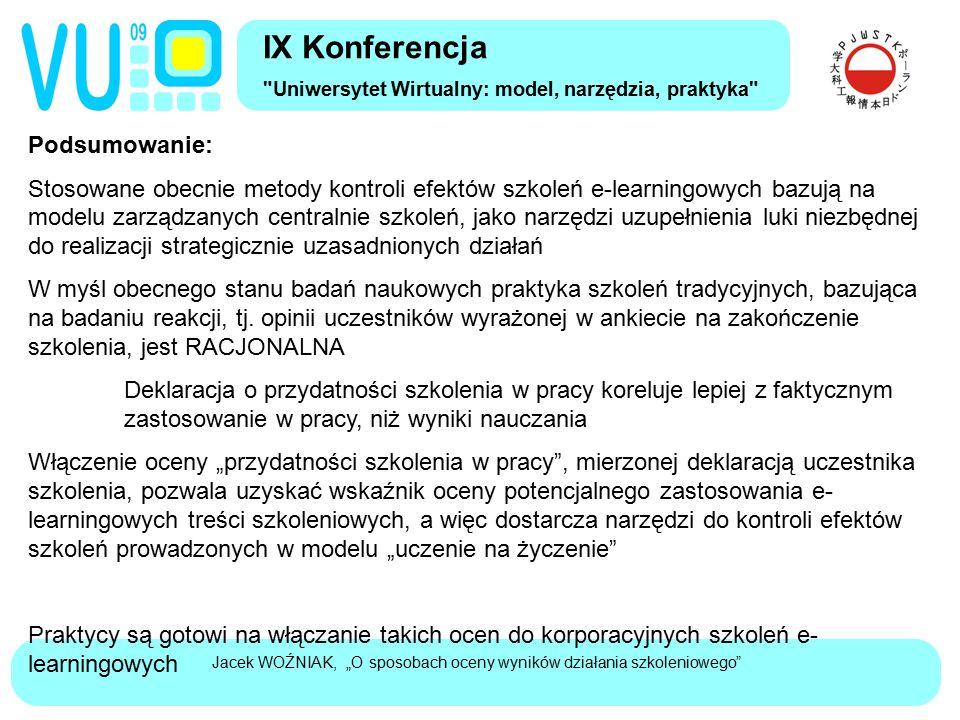 """Jacek WOŹNIAK, """"O sposobach oceny wyników działania szkoleniowego"""" Podsumowanie: Stosowane obecnie metody kontroli efektów szkoleń e-learningowych baz"""