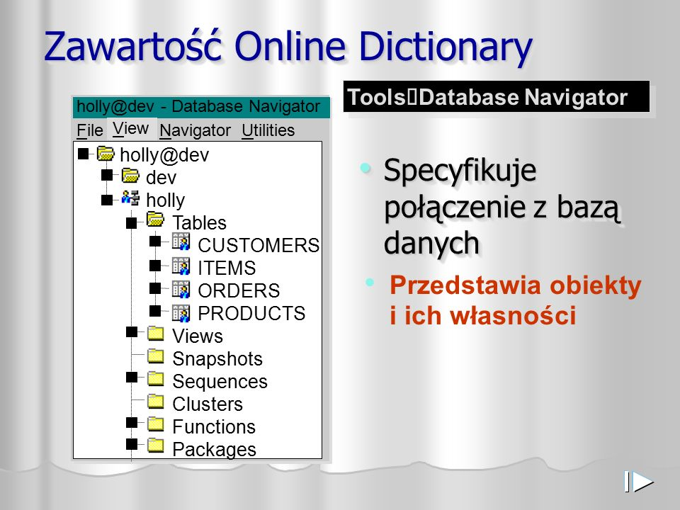 Zawartość Online Dictionary Specyfikuje połączenie z bazą danych Specyfikuje połączenie z bazą danych holly@dev dev holly Tables CUSTOMERS ITEMS ORDERS PRODUCTS Views Snapshots Sequences Clusters Functions Packages holly@dev - Database Navigator File View Navigator Utilities Przedstawia obiekty i ich własności View Tools  Database Navigator