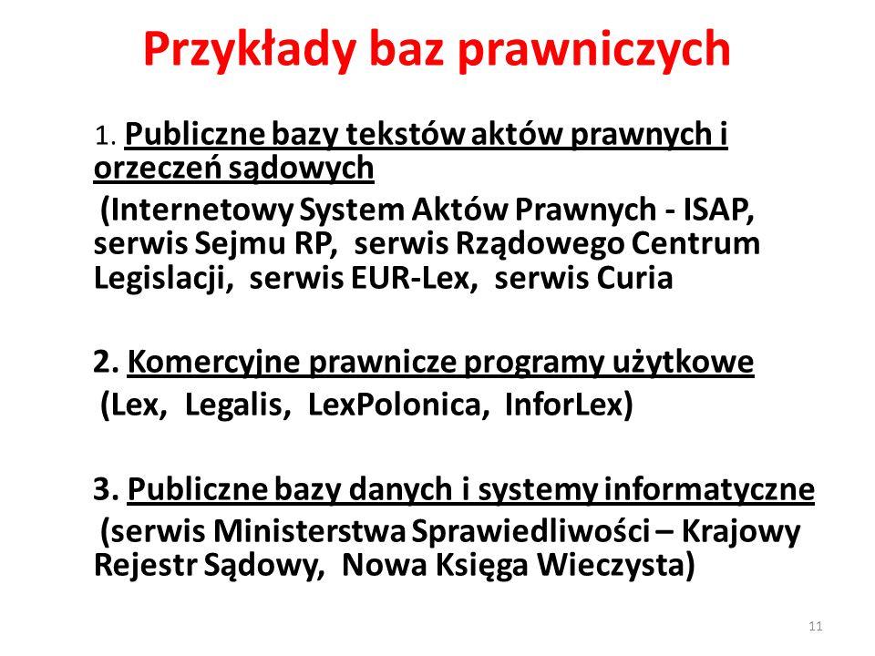Przykłady baz prawniczych 1. Publiczne bazy tekstów aktów prawnych i orzeczeń sądowych (Internetowy System Aktów Prawnych - ISAP, serwis Sejmu RP, ser