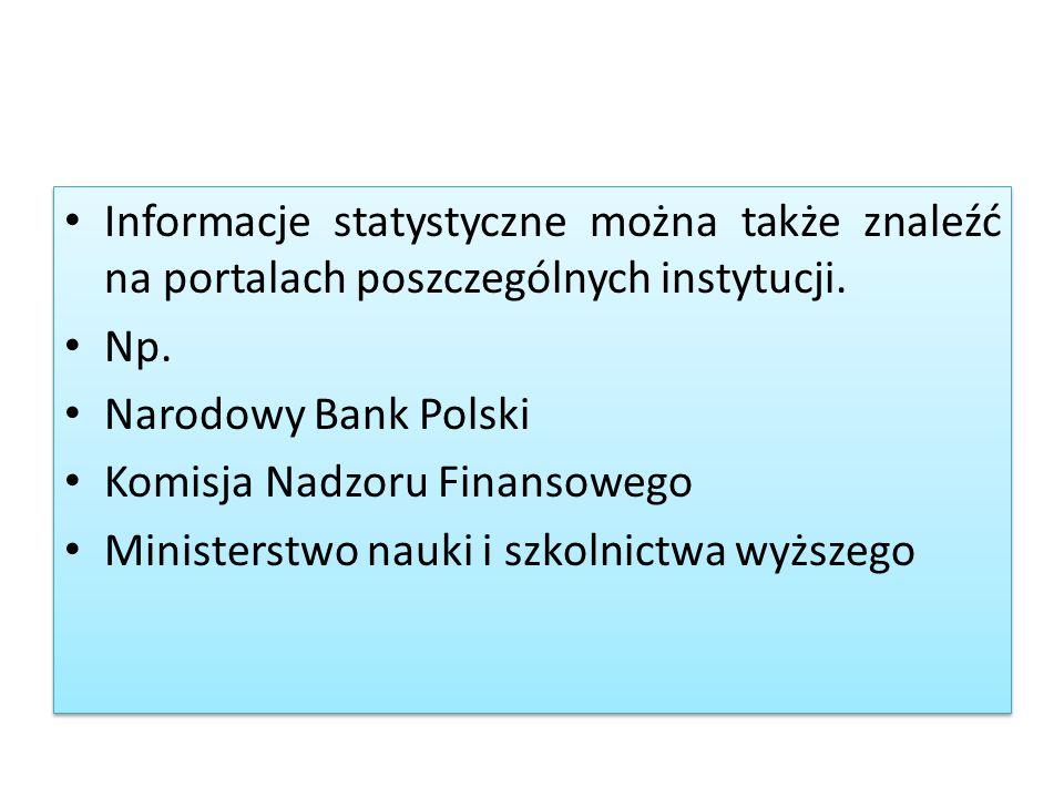 Informacje statystyczne można także znaleźć na portalach poszczególnych instytucji. Np. Narodowy Bank Polski Komisja Nadzoru Finansowego Ministerstwo