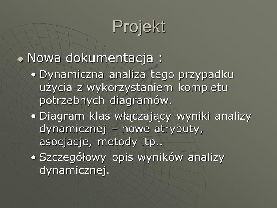 Projekt  Nowa dokumentacja : Dynamiczna analiza tego przypadku użycia z wykorzystaniem kompletu potrzebnych diagramów.Dynamiczna analiza tego przypadku użycia z wykorzystaniem kompletu potrzebnych diagramów.