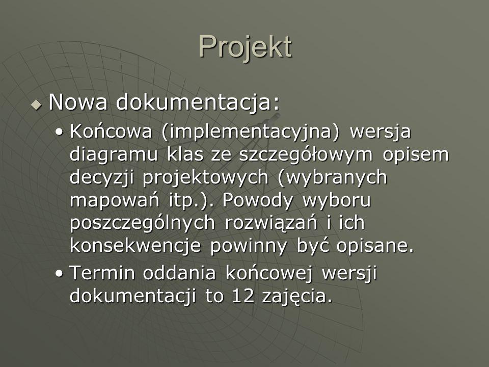 Projekt  Nowa dokumentacja: Końcowa (implementacyjna) wersja diagramu klas ze szczegółowym opisem decyzji projektowych (wybranych mapowań itp.).