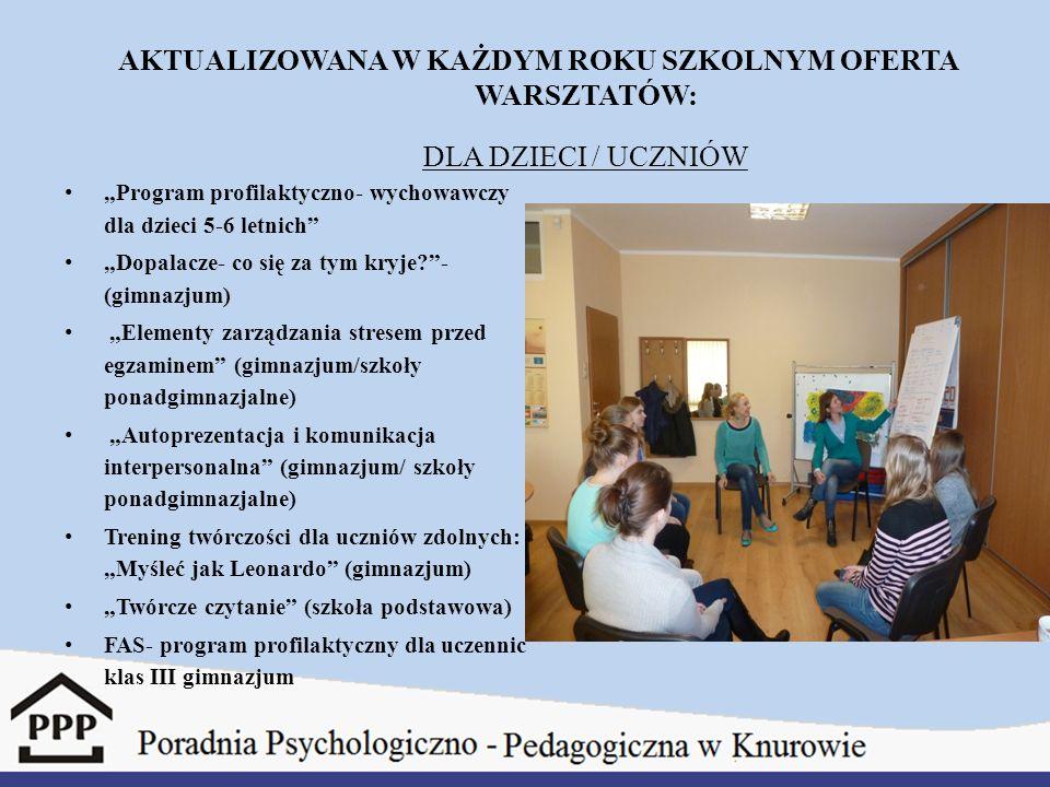"""AKTUALIZOWANA W KAŻDYM ROKU SZKOLNYM OFERTA WARSZTATÓW: DLA DZIECI / UCZNIÓW """"Program profilaktyczno- wychowawczy dla dzieci 5-6 letnich"""" """"Dopalacze-"""