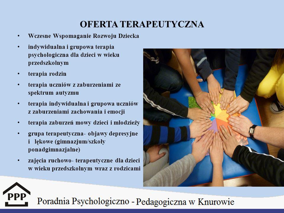 OFERTA TERAPEUTYCZNA Wczesne Wspomaganie Rozwoju Dziecka indywidualna i grupowa terapia psychologiczna dla dzieci w wieku przedszkolnym terapia rodzin terapia uczniów z zaburzeniami ze spektrum autyzmu terapia indywidualna i grupowa uczniów z zaburzeniami zachowania i emocji terapia zaburzeń mowy dzieci i młodzieży grupa terapeutyczna- objawy depresyjne i lękowe (gimnazjum/szkoły ponadgimnazjalne) zajęcia ruchowo- terapeutyczne dla dzieci w wieku przedszkolnym wraz z rodzicami