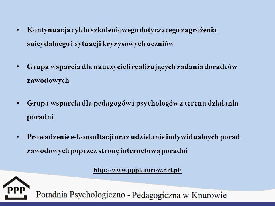 Kontynuacja cyklu szkoleniowego dotyczącego zagrożenia suicydalnego i sytuacji kryzysowych uczniów Grupa wsparcia dla nauczycieli realizujących zadani