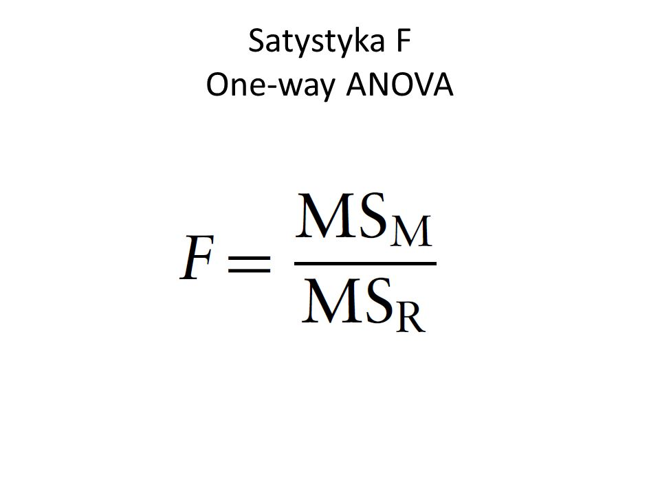 Satystyka F One-way ANOVA