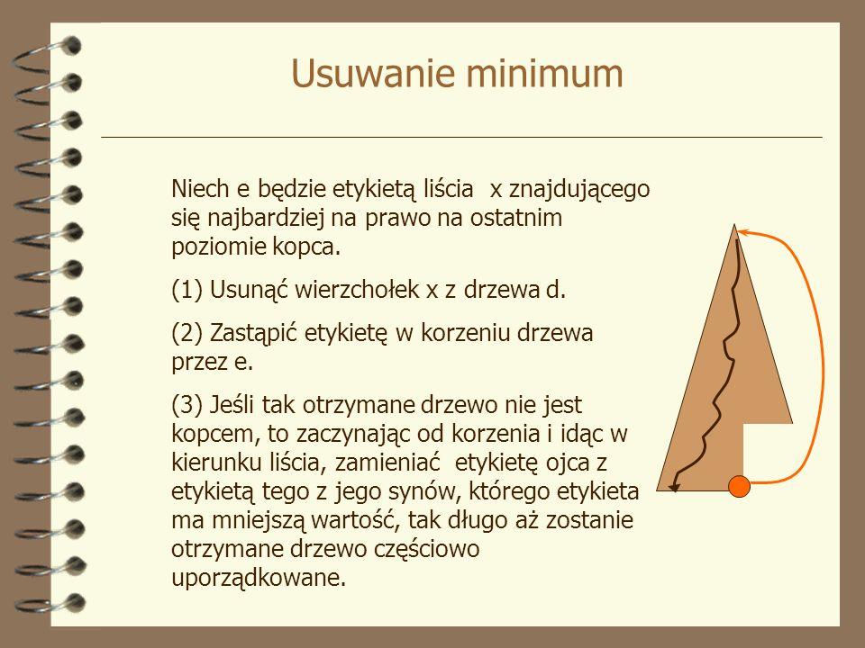 Usuwanie minimum Niech e będzie etykietą liścia x znajdującego się najbardziej na prawo na ostatnim poziomie kopca. (1) Usunąć wierzchołek x z drzewa