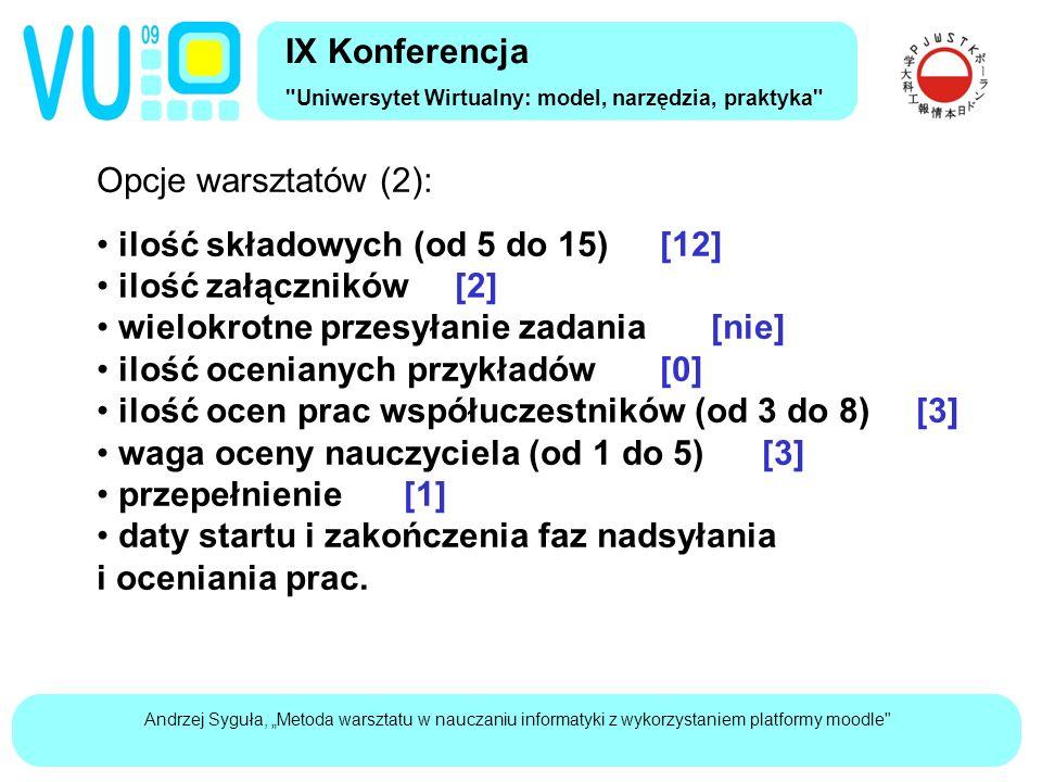 """Andrzej Syguła, """"Metoda warsztatu w nauczaniu informatyki z wykorzystaniem platformy moodle Opcje warsztatów (2): ilość składowych (od 5 do 15)[12] ilość załączników[2] wielokrotne przesyłanie zadania[nie] ilość ocenianych przykładów[0] ilość ocen prac współuczestników (od 3 do 8) [3] waga oceny nauczyciela (od 1 do 5)[3] przepełnienie[1] daty startu i zakończenia faz nadsyłania i oceniania prac."""