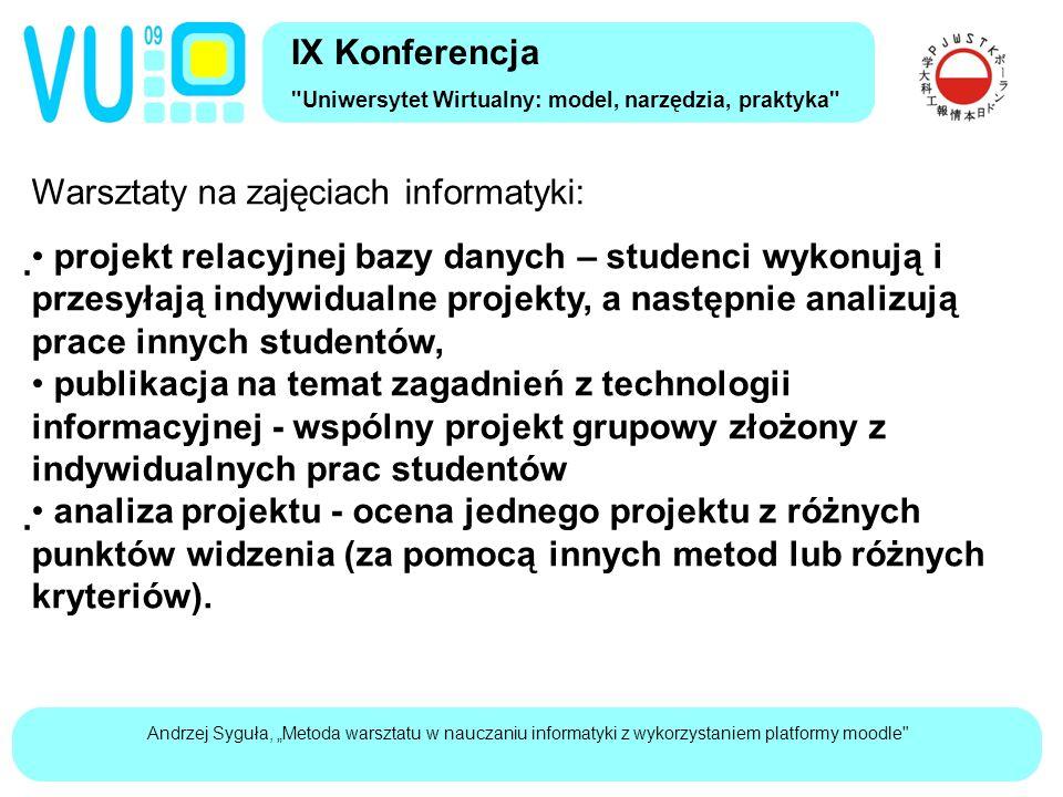 """Andrzej Syguła, """"Metoda warsztatu w nauczaniu informatyki z wykorzystaniem platformy moodle Warsztaty na zajęciach informatyki:  projekt relacyjnej bazy danych – studenci wykonują i przesyłają indywidualne projekty, a następnie analizują prace innych studentów, publikacja na temat zagadnień z technologii informacyjnej - wspólny projekt grupowy złożony z indywidualnych prac studentów  analiza projektu - ocena jednego projektu z różnych punktów widzenia (za pomocą innych metod lub różnych kryteriów)."""