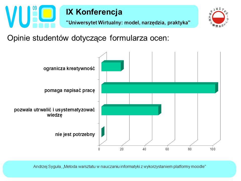 """Andrzej Syguła, """"Metoda warsztatu w nauczaniu informatyki z wykorzystaniem platformy moodle IX Konferencja Uniwersytet Wirtualny: model, narzędzia, praktyka Opinie studentów na temat oceniania:"""