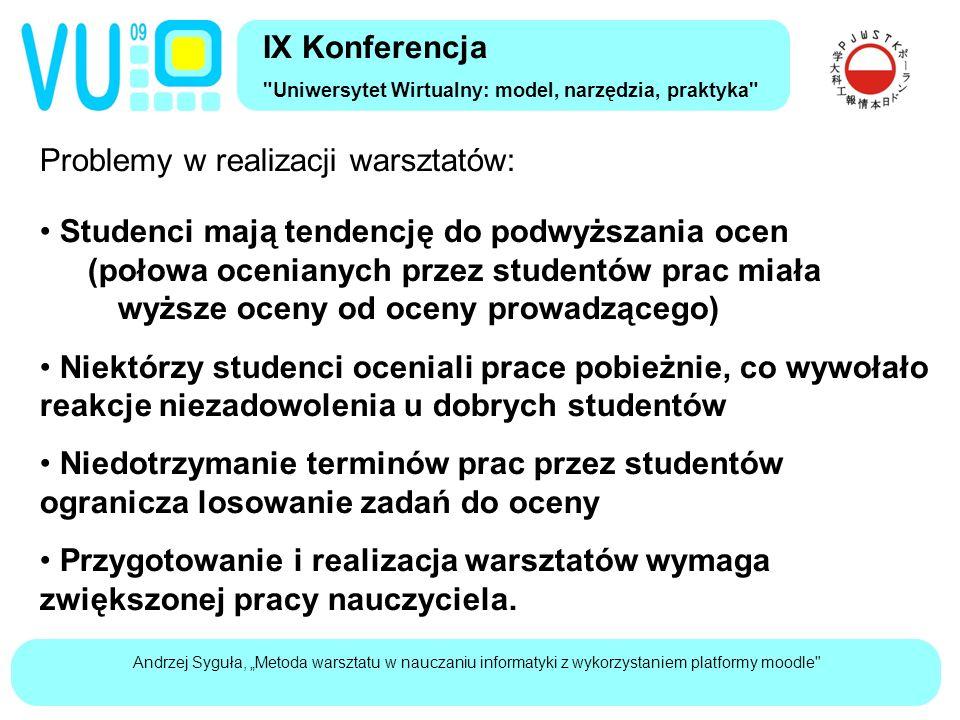 """Andrzej Syguła, """"Metoda warsztatu w nauczaniu informatyki z wykorzystaniem platformy moodle Kiedy stosować warsztaty."""