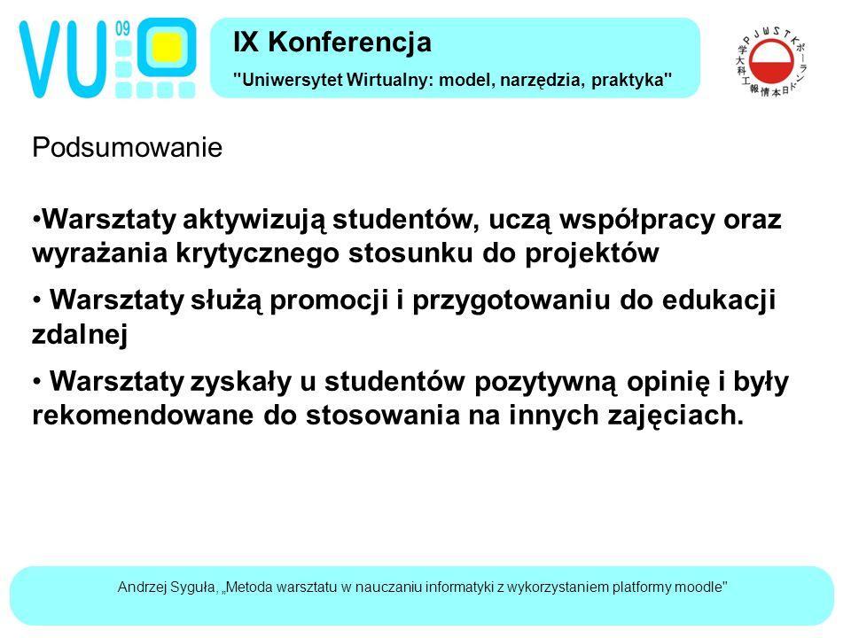 """Andrzej Syguła, """"Metoda warsztatu w nauczaniu informatyki z wykorzystaniem platformy moodle Dziękuję za uwagę IX Konferencja Uniwersytet Wirtualny: model, narzędzia, praktyka Andrzej Syguła a.sygula@pwsz.kalisz.pl"""
