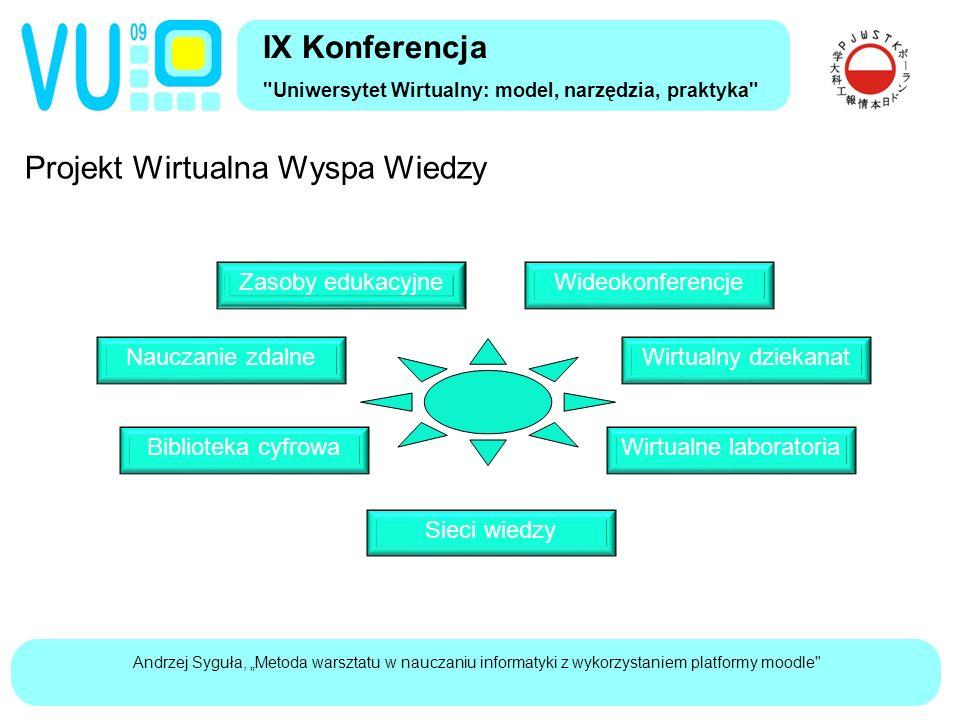 """Andrzej Syguła, """"Metoda warsztatu w nauczaniu informatyki z wykorzystaniem platformy moodle IX Konferencja Uniwersytet Wirtualny: model, narzędzia, praktyka"""