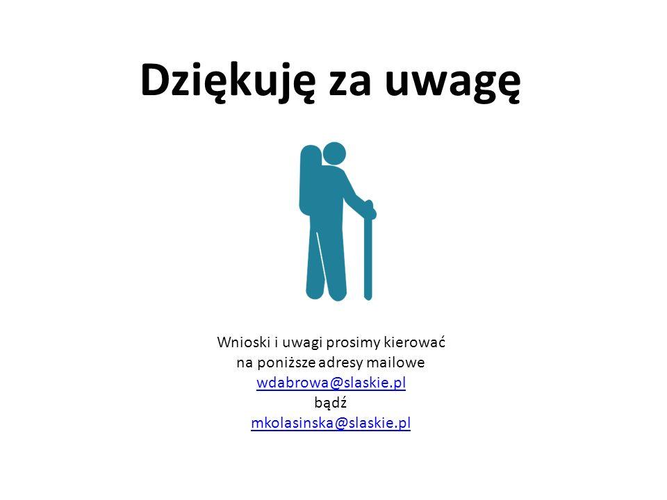 Dziękuję za uwagę Wnioski i uwagi prosimy kierować na poniższe adresy mailowe wdabrowa@slaskie.pl bądź mkolasinska@slaskie.pl wdabrowa@slaskie.pl mkolasinska@slaskie.pl