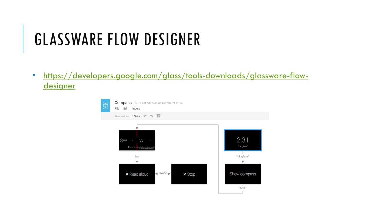 GLASSWARE FLOW DESIGNER https://developers.google.com/glass/tools-downloads/glassware-flow- designer https://developers.google.com/glass/tools-downloa