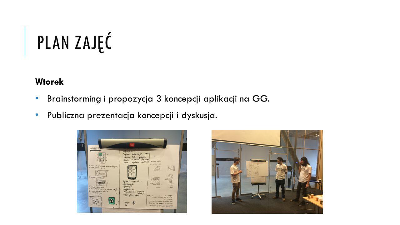 PLAN ZAJĘĆ Wtorek Brainstorming i propozycja 3 koncepcji aplikacji na GG. Publiczna prezentacja koncepcji i dyskusja.