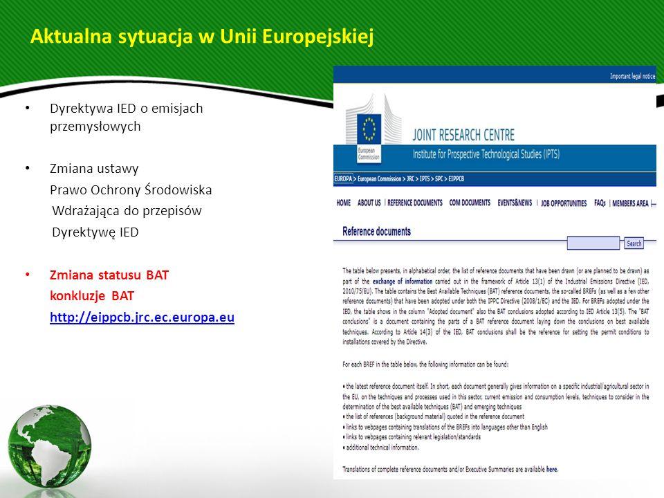 Aktualna sytuacja w Unii Europejskiej Dyrektywa IED o emisjach przemysłowych Zmiana ustawy Prawo Ochrony Środowiska Wdrażająca do przepisów Dyrektywę