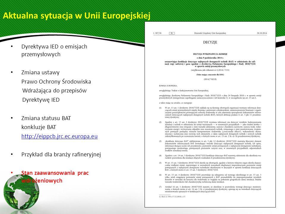 Dyrektywa IED o emisjach przemysłowych Zmiana ustawy Prawo Ochrony Środowiska Wdrażająca do przepisów Dyrektywę IED Zmiana statusu BAT konkluzje BAT h