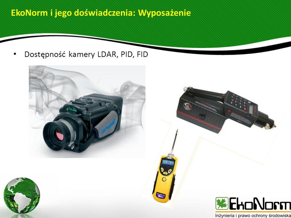 Dostępność kamery LDAR, PID, FID EkoNorm i jego doświadczenia: Wyposażenie