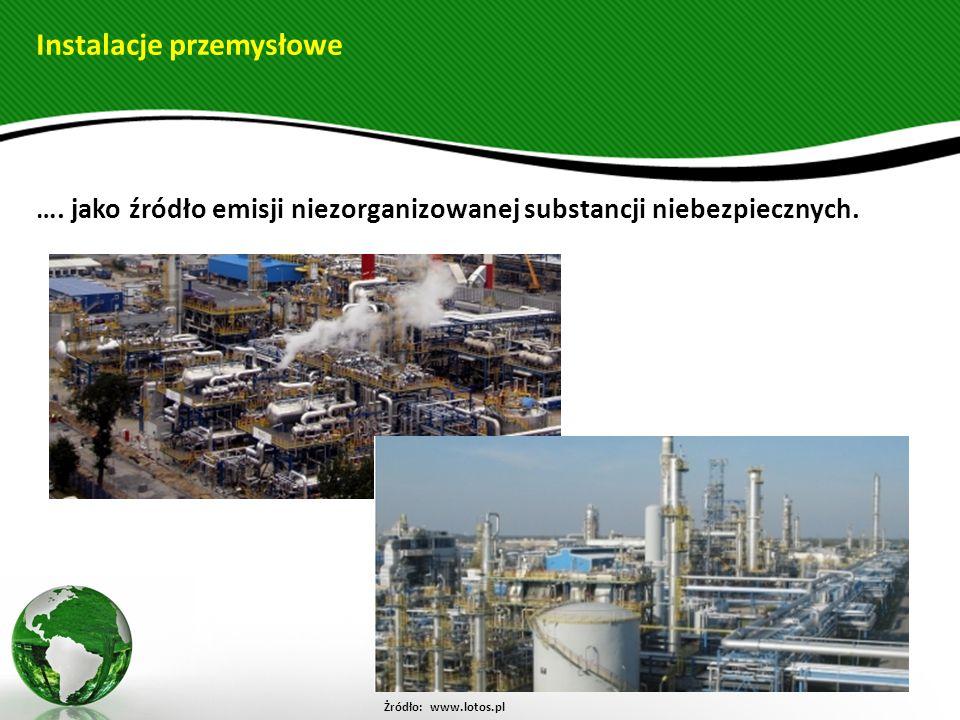 Instalacje przemysłowe …. jako źródło emisji niezorganizowanej substancji niebezpiecznych. Żródło: www.lotos.pl