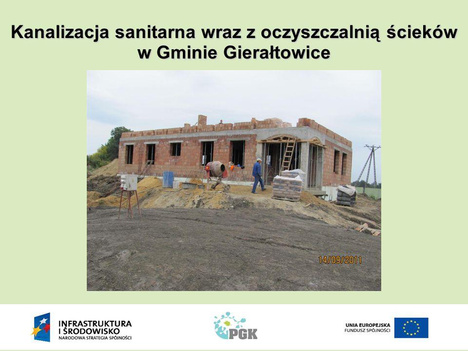 Dzięki budowie kanalizacji sanitarnej:  możemy skorzystać ze środków finansowych Unii Europejskiej dla poprawy naszego środowiska naturalnego, Kanalizacja sanitarna wraz z oczyszczalnią ścieków w Gminie Gierałtowice  jako gmina mając zbiorczy system kanalizacji sanitarnej unikniemy płacenia kar jakie po roku 2015 może nałożyć na nas na mocy dyrektywy 91/271/EWG Komisja Europejska,  zaoszczędzimy - ponieważ wywóz ścieków z bezodpływowych zbiorników jest rozwiązaniem droższym niż zbiorczy system kanalizacji sanitarnej,  polepszy się sytuacja osób które planują budowę domu zwłaszcza na niewielkiej działce gruntu – nie będzie potrzebne wydzielenie miejsca na bezodpływowy zbiornik na nieczystości,  powstaną dodatkowe miejsca pracy,  oczyścimy nasze rzeki, potoki i inne cieki wodne,  nasza gmina stanie się atrakcyjniejsza dla nowych inwestorów,  ulegnie poprawie jakość naszego życia.