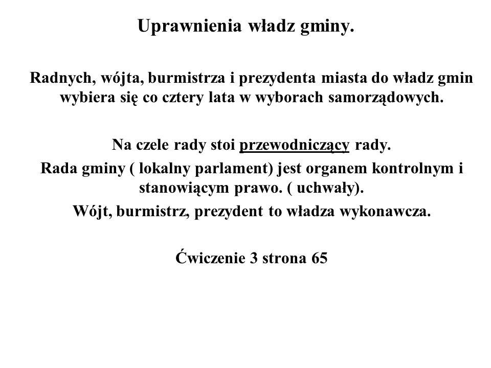 Uprawnienia władz gminy.