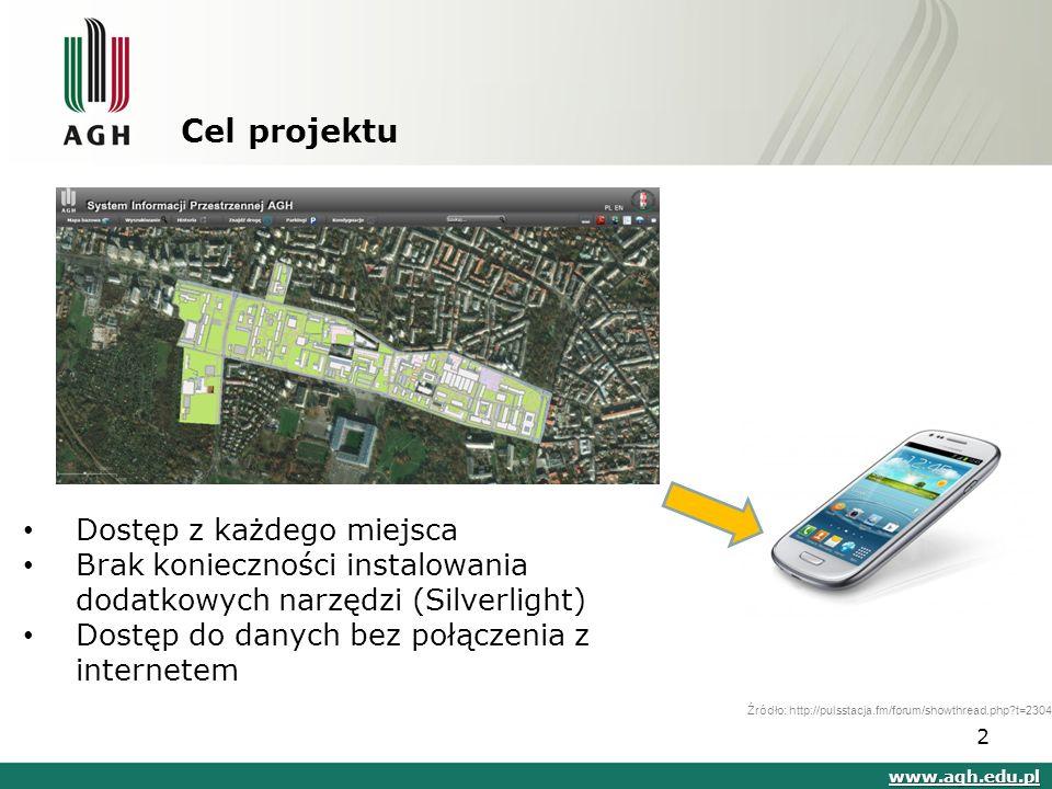 Cel projektu www.agh.edu.pl Źródło: http://pulsstacja.fm/forum/showthread.php t=2304 Dostęp z każdego miejsca Brak konieczności instalowania dodatkowych narzędzi (Silverlight) Dostęp do danych bez połączenia z internetem 2