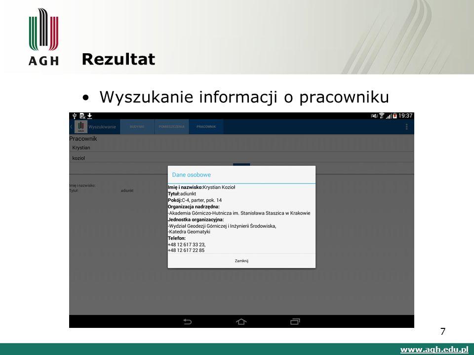 Rezultat Wyszukanie informacji o pracowniku www.agh.edu.pl 7