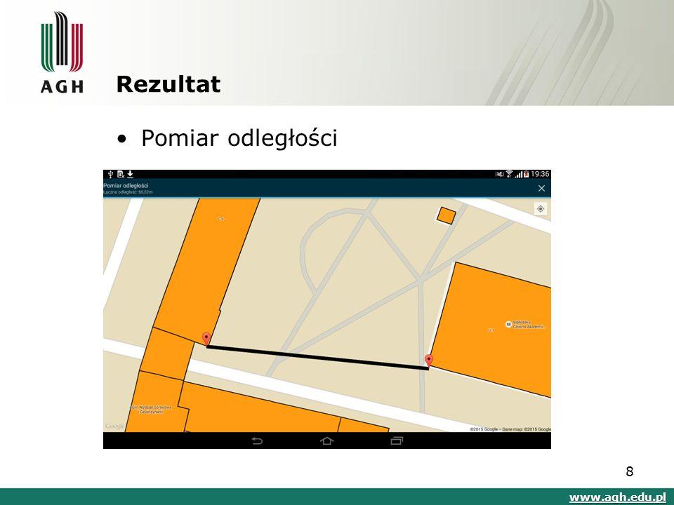 Rezultat Pomiar odległości www.agh.edu.pl 8