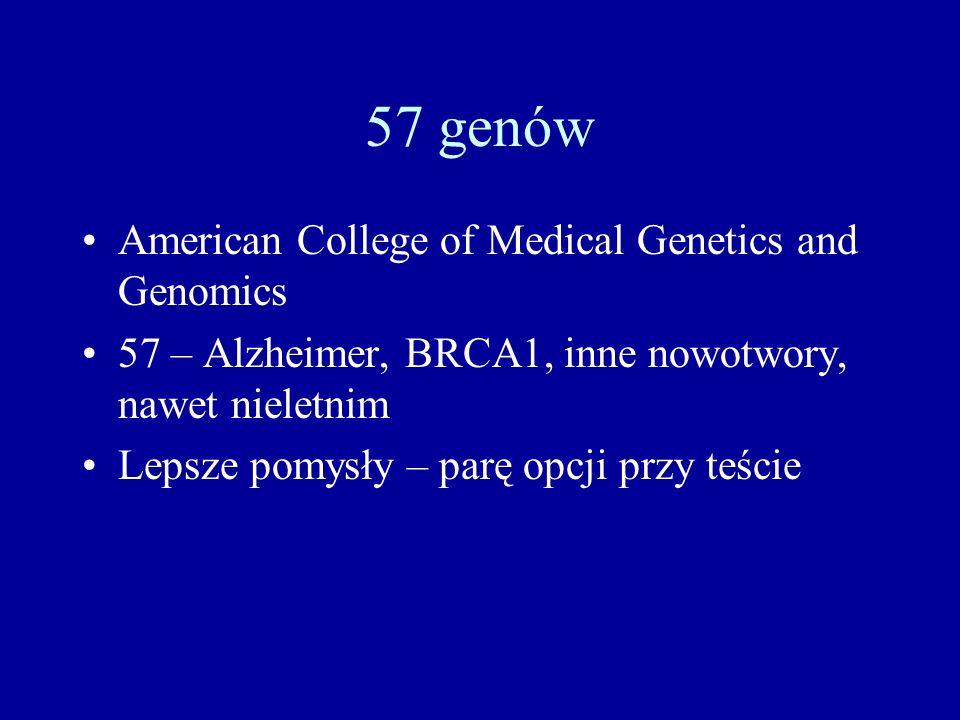 57 genów American College of Medical Genetics and Genomics 57 – Alzheimer, BRCA1, inne nowotwory, nawet nieletnim Lepsze pomysły – parę opcji przy teś