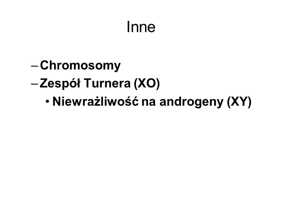 Inne –Chromosomy –Zespół Turnera (XO) Niewrażliwość na androgeny (XY)