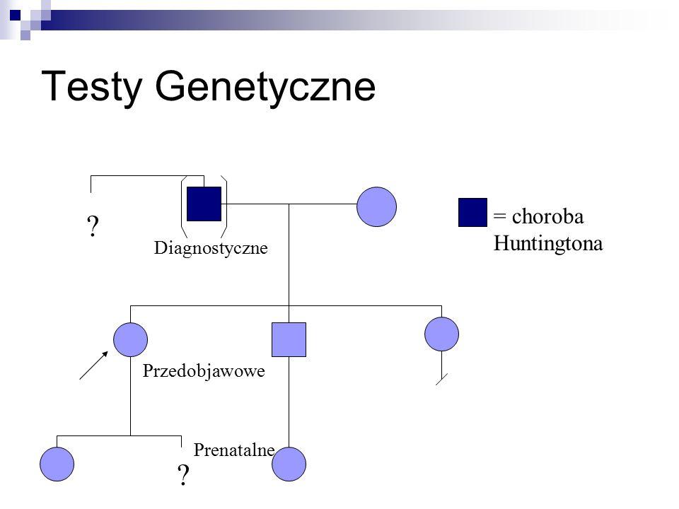 Testy Genetyczne ? ? Diagnostyczne Przedobjawowe Prenatalne = choroba Huntingtona