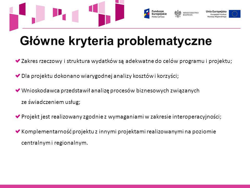 Główne kryteria problematyczne Zakres rzeczowy i struktura wydatków są adekwatne do celów programu i projektu; Dla projektu dokonano wiarygodnej anali