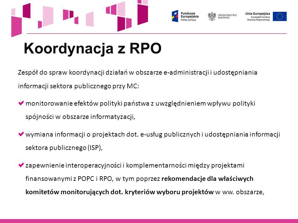 Koordynacja z RPO Zespół do spraw koordynacji działań w obszarze e-administracji i udostępniania informacji sektora publicznego przy MC: monitorowanie